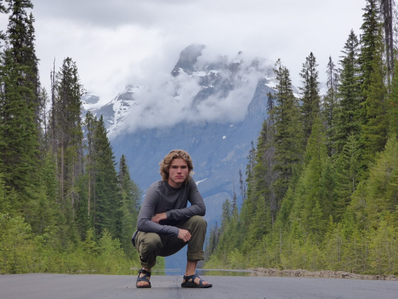 tom on road with mountain background